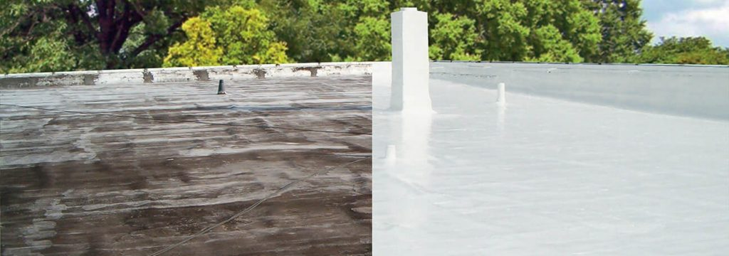 Roof re-coatings before and after
